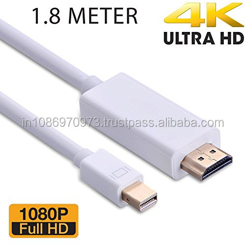 Mini Display Port Thunderbolt HDMI Cable Adapter 1.8m 6ft - White