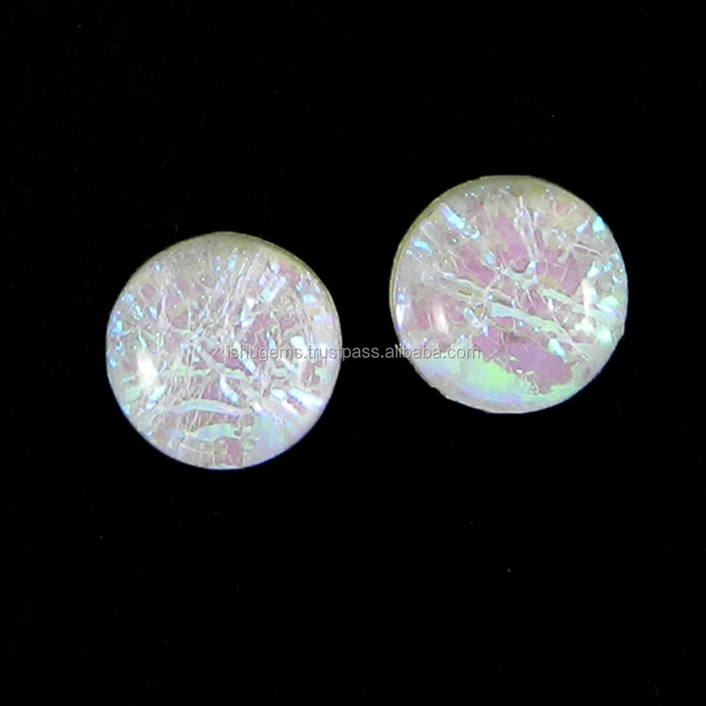 Opal Foil Doublet Gemstone 6mm Round Pair Cabochon 2.5 Cts Loose Gemstone IG4083