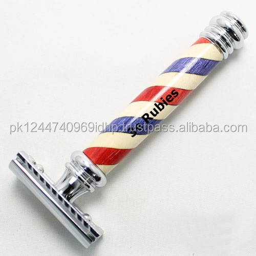 Barber pole paper coated design in safety razors/ Best Safety razor with barber pole paper coated design color coated
