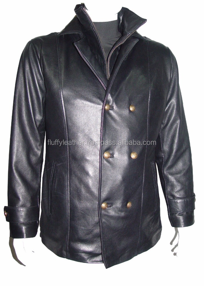 Male Black Soft Sheepskin Leather Coat Double Collar Fine Sport Blazer--FL-2395