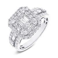 High Quality 1.40CT 18K white gold Diamond filigree engagement ring for sale 10 karat diamonds rings