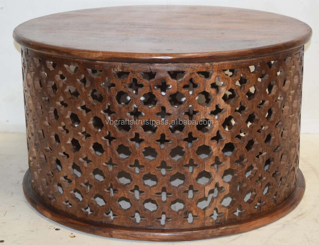 Mango Wood Ethnic Wooden Carving Round Coffee Table Buy Solid Wood Hand Carved Coffee Tablewood Base Round Tablejodhpur Wooden Table Product On