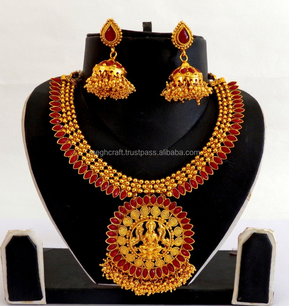 e8b1ed3cf South indian Jewellery-One Gram Gold Plated Lakshmi Temple Jewelry-South Indian  Gold plated bridal Necklace Set wholesale. Hot sale products