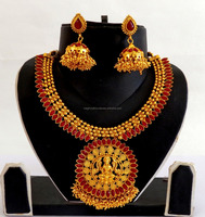 South indian Jewellery-One Gram Gold Plated Lakshmi Temple Jewelry-South Indian Gold plated bridal Necklace Set wholesale