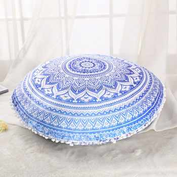 Indian Ottoman Large Floor Pillows Blue Ombre Mandala Tapestry Round 100%  Cotton Fabric Pouf Cushions