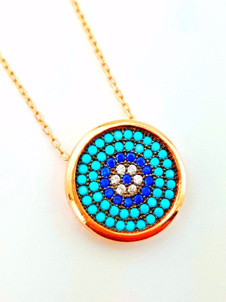 Wholesale Handmade Rose Gold Plated Turkish Evil Eye 925 Sterling Silver Necklace