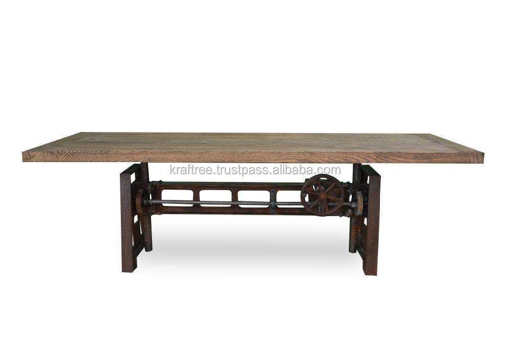 Industrielle cank manger table avec base en fonte avec for Table a manger industrielle