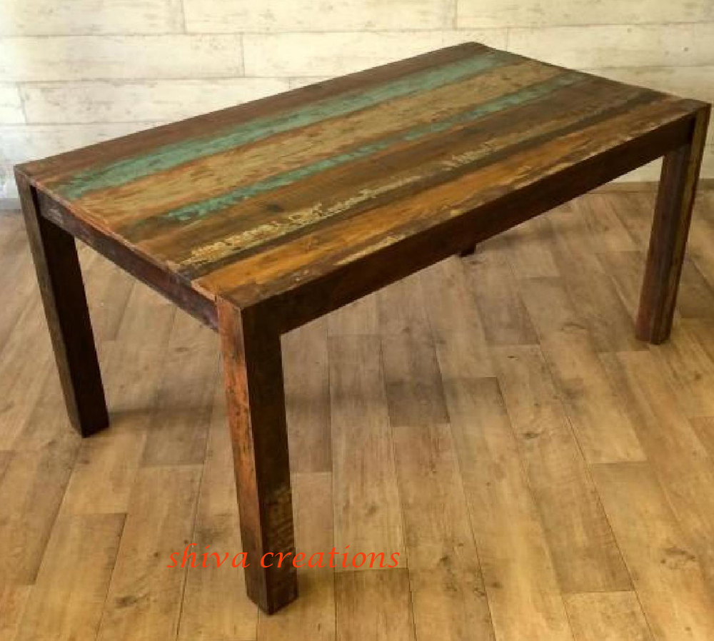 Manufacturer old ship recycled wooden dining table