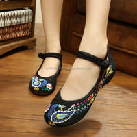 Plus Size 41 Chinese Style Flats National Peacock Embroidery Casual Shoes Soft Sole Old Peking Cloth Shoes Woman zapatos mujers