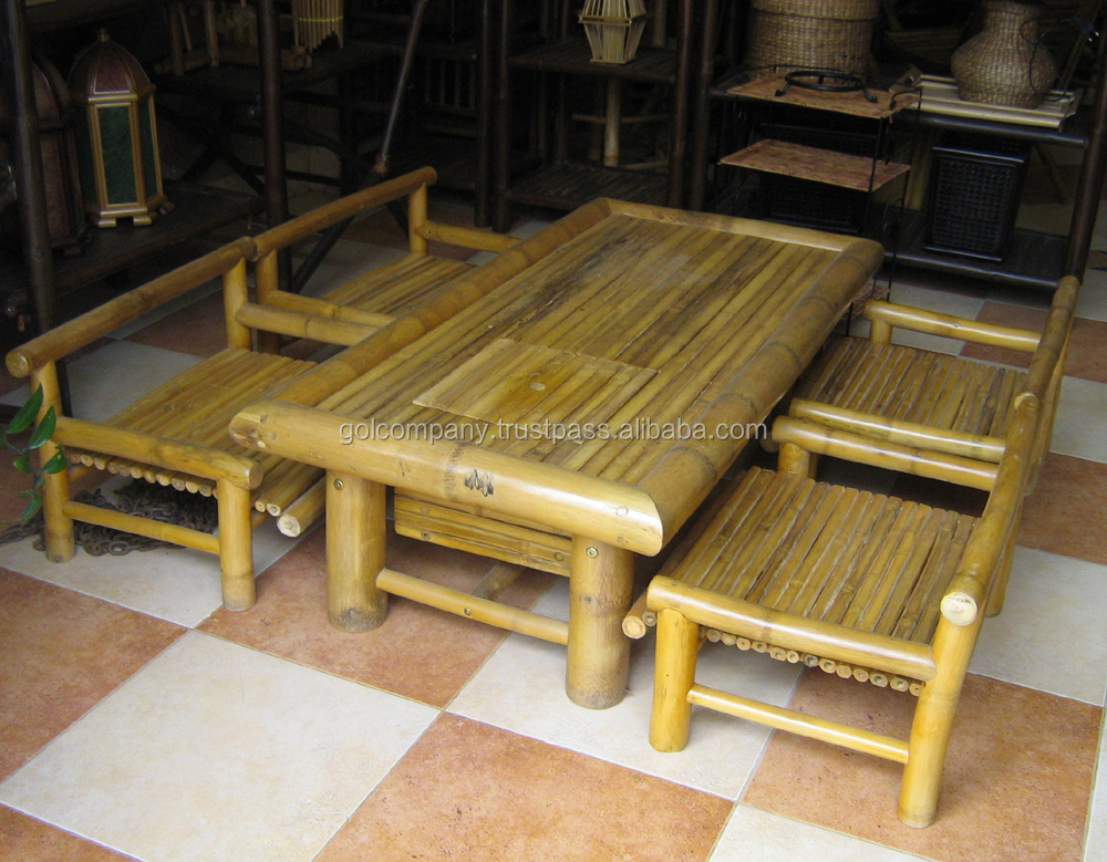 Bamboo Dining Set Double Chair Two Seat Bamboo Furniture