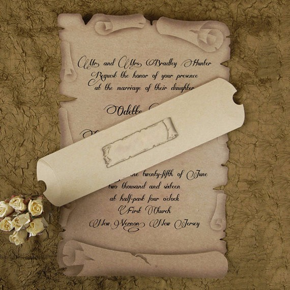 scroll wedding invitation card medieval style old craft paper