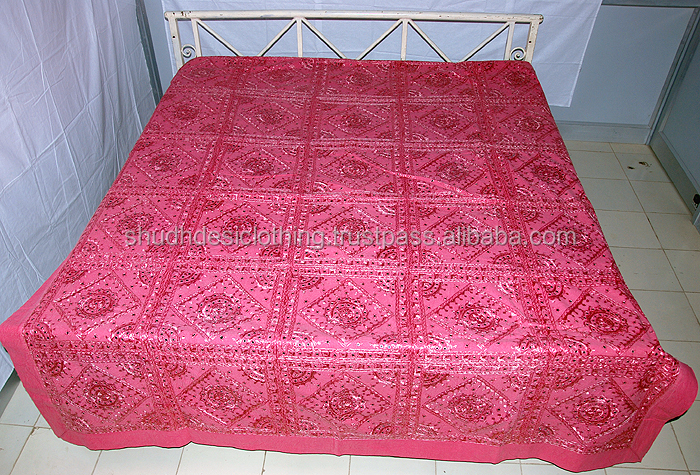 Handloom Rajasthani Mirror Work King Size Bed Sheet