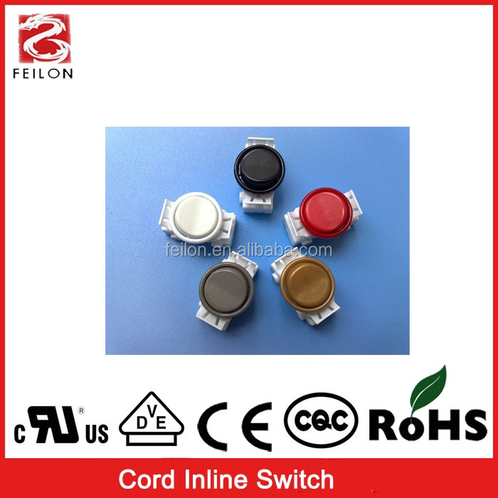 push button cord inline switch 21mm on off different color can offer