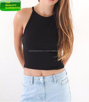 4540e1a994bc3 Ladies Girls Women Teens Sexy Back Tank Top Black 2019 Design Cotton Custom  Stretch Slim Fit