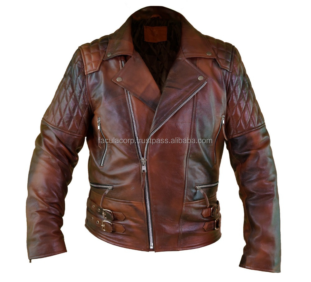 2016 Men's Motorcycle Style Distressed Brown Classic Vintage Soft Leather Jacket FC-7855