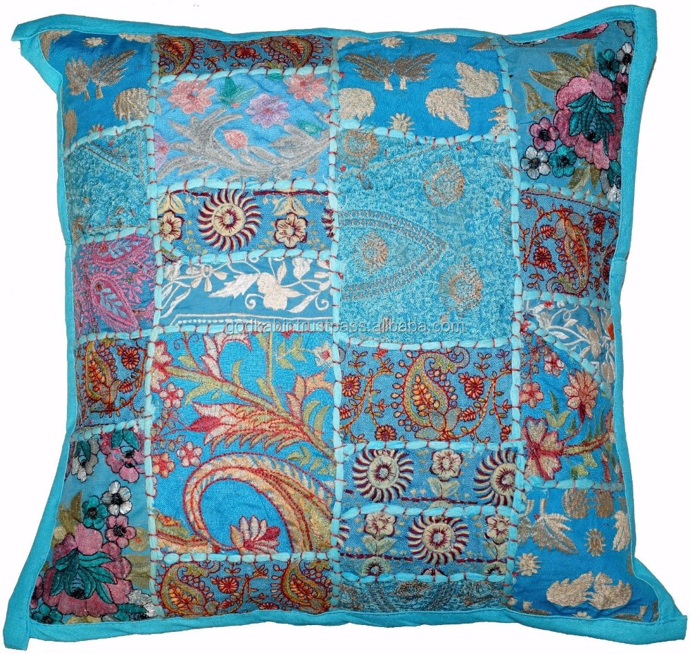 Indian Handmade Pillow Cover Embroidered Cotton Cushion 24 Decor