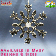 Beaded wholesale metal Christmas glass crystal snowflake ornaments