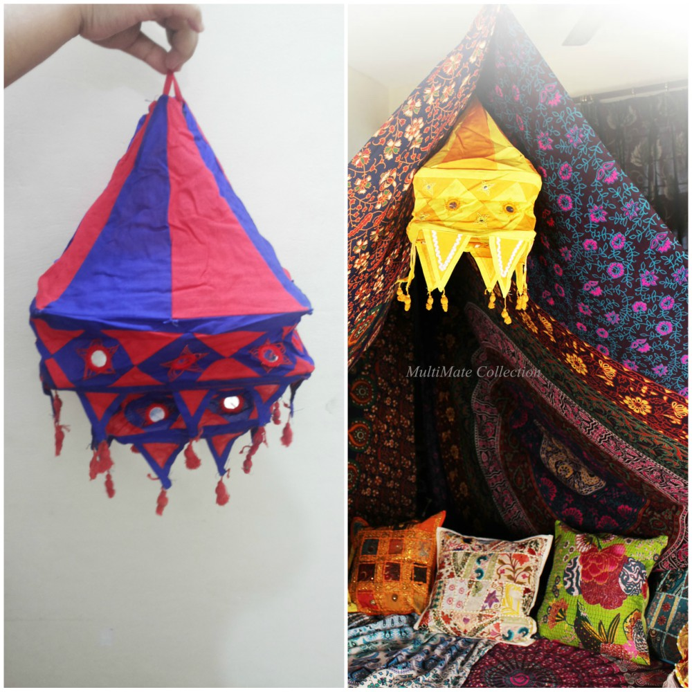 Indian Fabric Lamp Shades Cotton Outdoor Lamp Covers Square Ethnic ...