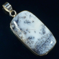 Top Quality Dendritic Agate Gemstone Silver Pendant, 925 Sterling Silver Jewelry
