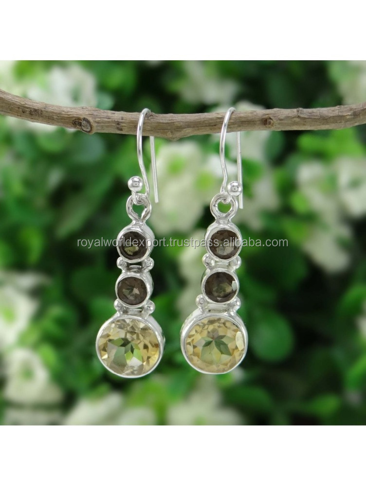 Earrings Accessories 925 Silver 925 Sterling Silver Multi Stone Drop Dangle Earring Women Fashion Indian Jewelry