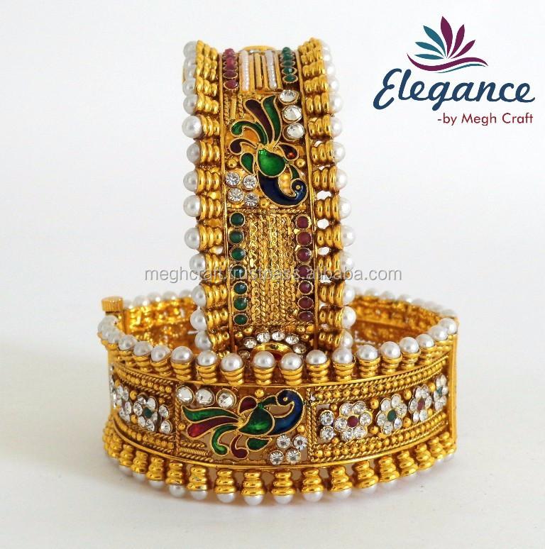 One Gram Gold Bridal Bracelets-peacock Style Kada-wholesale Pearl ...