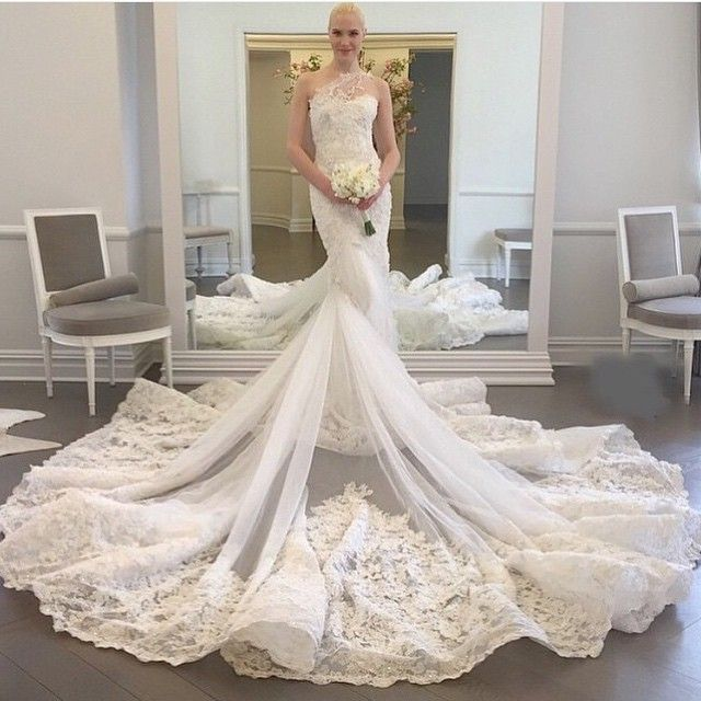 Wdwa 100 Lace Tulle Trumpet Bridal Gown One Shoulder With Long Train Alibaba Wedding Dress