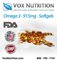Omega 3 Fish Oil 915 mg Supplement, Bulk softgels - Private Label Omega 3 Fish Oil Supplement