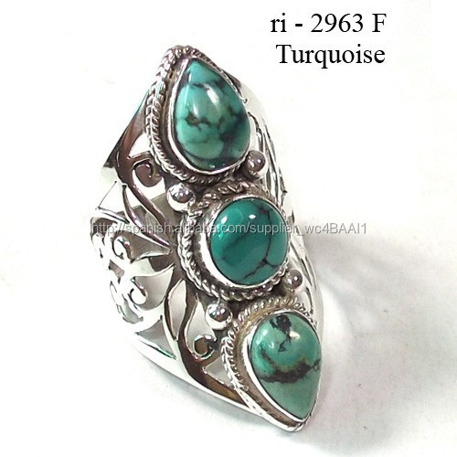 1bcdfb1c62d5 Venta al por mayor joyería india 925 anillos de plata azul turquesa natural  stone Rings Ebay