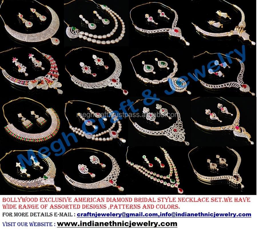 Indian American Diamond Jewellery Wholesale Indian Cz Jewellery Indian Fashion Jewelery Cz Necklace Set Buy Indian Bridal Gold Jewellery Necklace Sets Indian Artificial Necklace Sets Bridal Set Diamond Necklace Set Diamond Jewellery Product On
