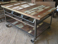 Recycled antique iron wheels kitchen cart 3 drawer with cast iron wheels