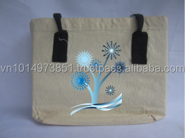 Wholesales Recyclable handled Cotton Tote bag canvas shopping bag for promotion in Vietnam