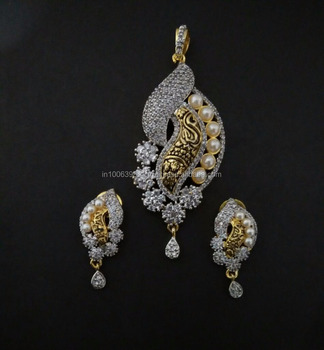 e7645ca93 Buy Fancy Designer Diamond Pendant Set - C4982 - Buy Artificial ...