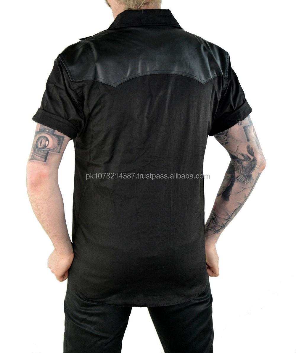 New 2015 Gothic Mens Shirt Goth Punk Fetish Vampire Vegi Leather