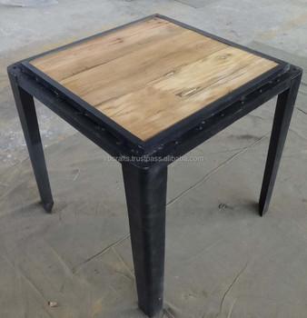 Industrial Metal Rivet Square Dining Table