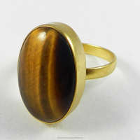 Pedro Designer Jewelry Ring - Yellow Tiger Eye - 18k Gold Plated - Oval Cab Gemstone Ring - Bezel Set Ring - SIRG0848