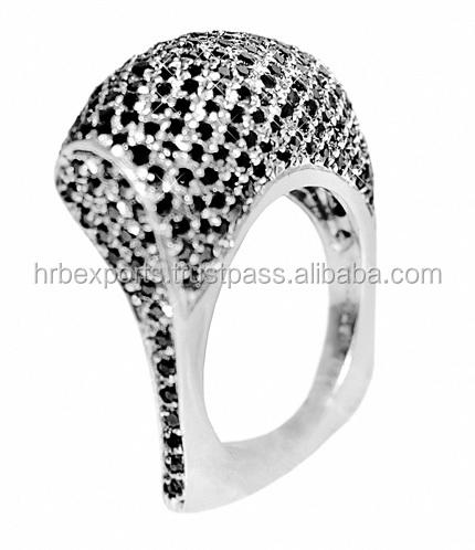 Black Diamond Ring18k White Yellow Gold Engagement Ring Est