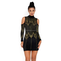 Neck On The Shine Velvet Embellished Mini Dress