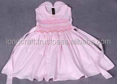 Pink cotton smocked baby dress