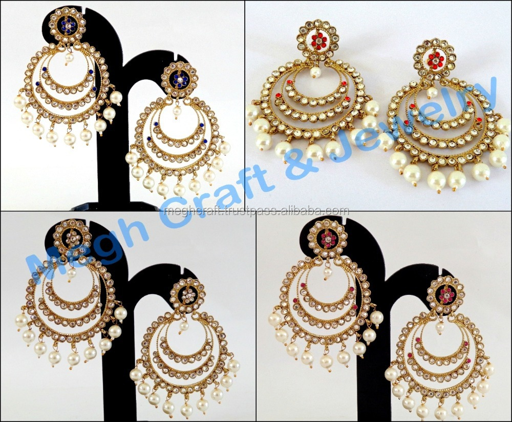 Punjabi Wedding Wear Chandelier Earring-heavy Kundan Wedding ...