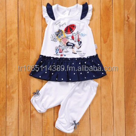 2 PCS. SET BABY DRESS WITH RUFFLED TUNIC AND TIGHT, BABY CLOTHES FOR KIDS, BABY DRESSES FOR BABY CLOTHING