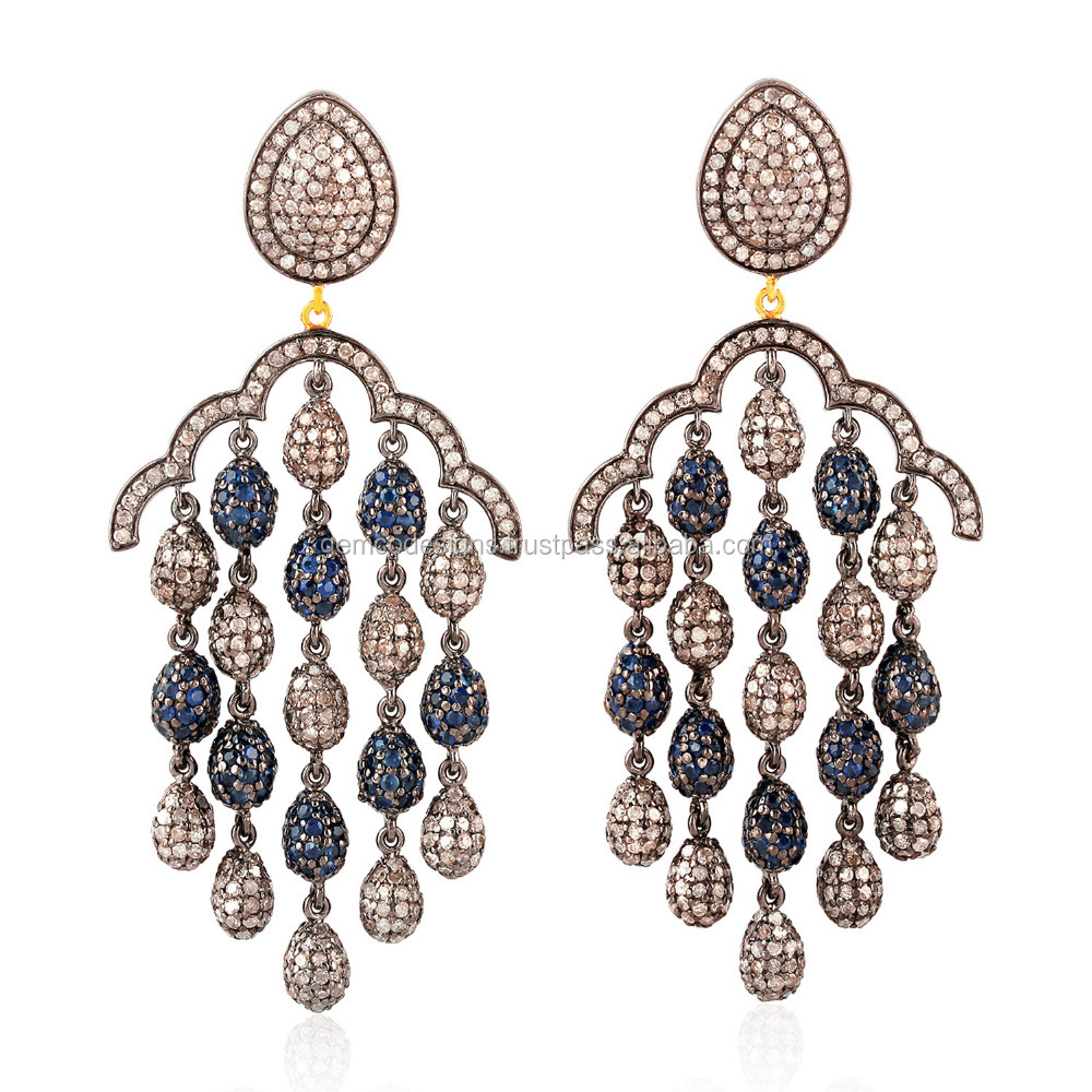 925 Sterling Silver 14k Gold Blue Sapphire Gemstone Pave Diamond Chandelier Earring Jewelry