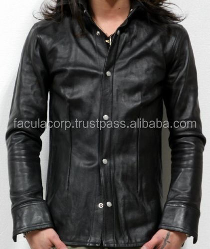 Men's Napa Leather Long Shirt New All Sizes FC-8341