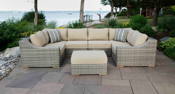 Corsica U Shape Wicker Rattan Outdoor Garden Furniture L Shape Sectional  Sofa Set