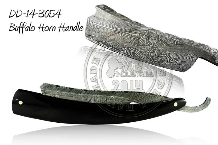 Damascus Steel Straight Razor Buffalo Horn Handle DD-14-3054