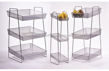 Metal Wire Fruit Basket Stand Counter Display Kitchen