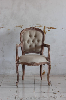 Reclaimed Furniture - Louis XV Arm Chair Full Uph, Fleur de Lea Carving Indonesia Furniture