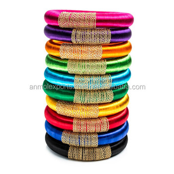 India Silk Thread Bangle Dengan Rantai Wrap Koleksi Indah Grosir Sutra Gelang Buy Buatan Tangan Gelang Benang India Bollywood Pengantin Bangle Set India Pengantin Gelang Product On Alibaba Com