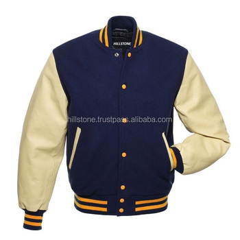 New Mens Fashion College Plain Navy Blue Wool | Leather Sleeves Classic Letterman Baseball
