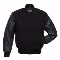 Sports wear Style Cheap wholesale Contrast Sleeve Bomber Varsity Jacket with Leather Sleeves