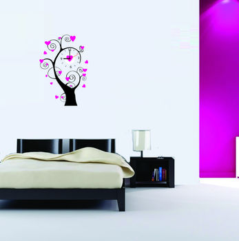 LASMI LOVELY HEART TREE STICKER WALL CLOCK